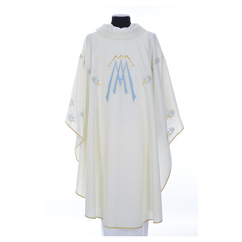 Catholic Chasuble in polyester with Marian symbol embroidery 1