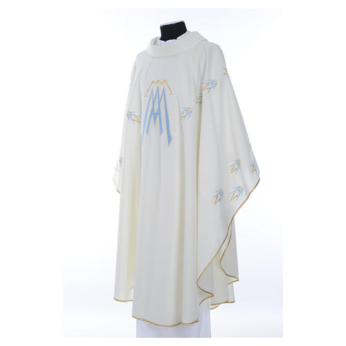 Catholic Chasuble in polyester with Marian symbol embroidery 2