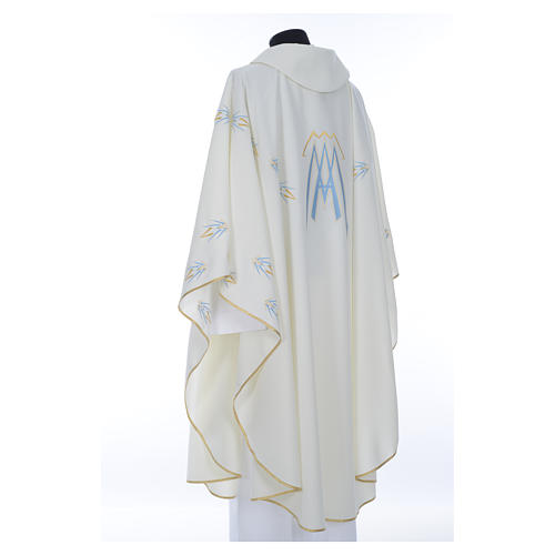 Catholic Chasuble in polyester with Marian symbol embroidery 3