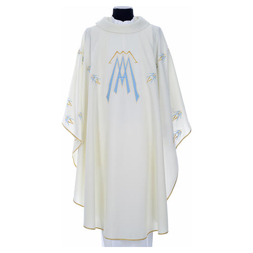 Catholic Chasuble in polyester with Marian symbol embroidery 5