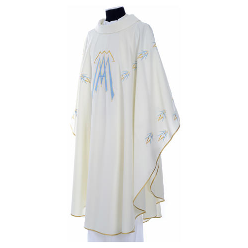 Catholic Chasuble in polyester with Marian symbol embroidery 6