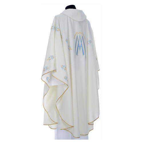 Catholic Chasuble in polyester with Marian symbol embroidery 7