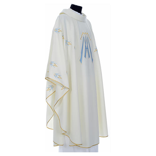 Catholic Chasuble in polyester with Marian symbol embroidery 8