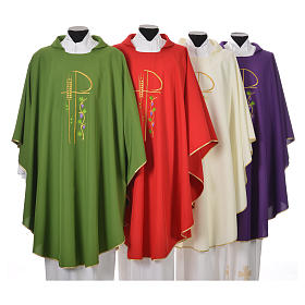 Chasuble in polyester with Chi-Rho and grapes and vine symbols s1