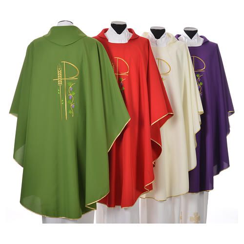 Chasuble in polyester with Chi-Rho and grapes and vine symbols 2