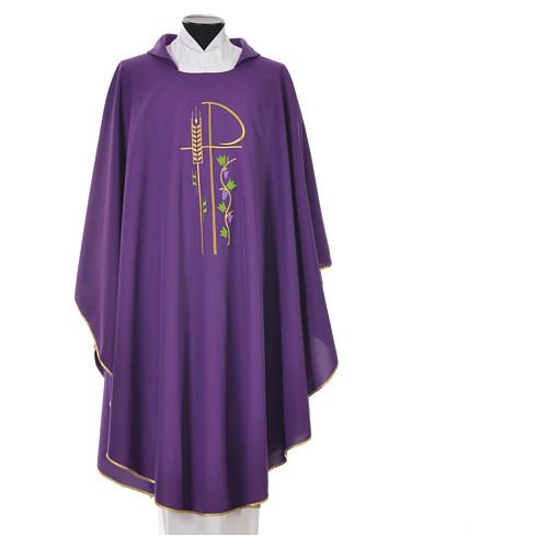 Chasuble in polyester with Chi-Rho and grapes and vine symbols 3