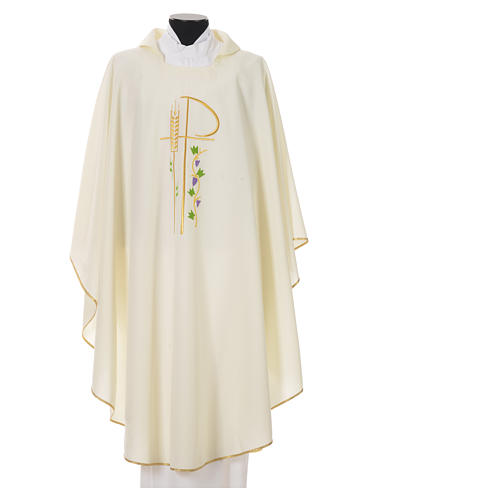 Chasuble in polyester with Chi-Rho and grapes and vine symbols 4