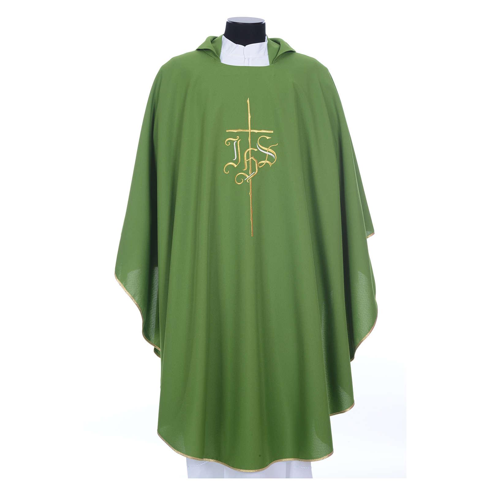 Kasel IHS und Kreuz aus Polyester 4