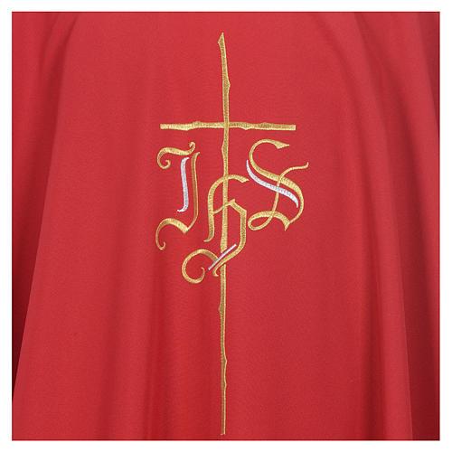 Kasel IHS und Kreuz aus Polyester 5