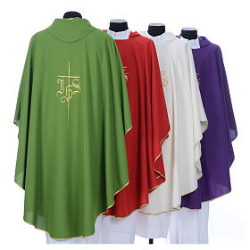 Chasuble in polyester with JHS and cross symbol s9