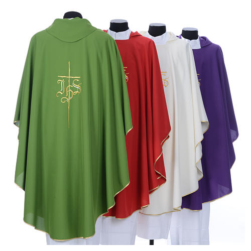 Chasuble in polyester with JHS and cross symbol 9