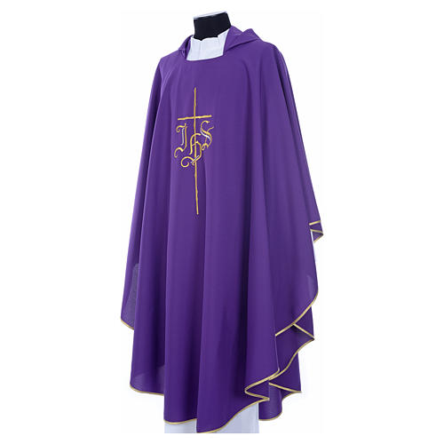 Chasuble in polyester with JHS and cross symbol 16