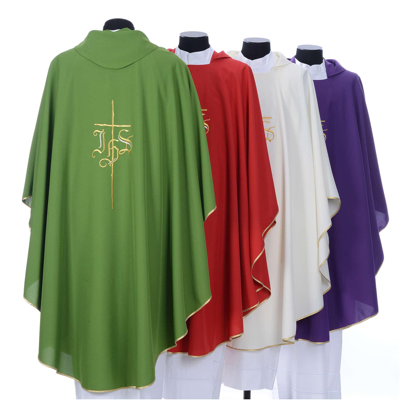 Chasuble liturgique IHS croix stylisée 4 couleurs pol. 4