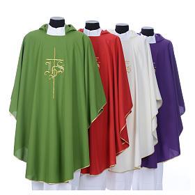 Chasuble liturgique IHS croix stylisée 4 couleurs pol. s8