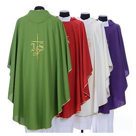 Chasuble liturgique IHS croix stylisée 4 couleurs pol. s9