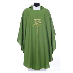 Chasuble liturgique IHS croix stylisée 4 couleurs pol. s10