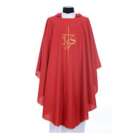 Chasuble liturgique IHS croix stylisée 4 couleurs pol. s11