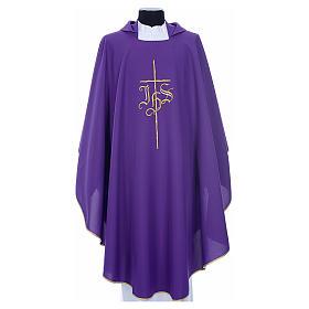 Chasubles: Chasuble liturgique IHS croix stylisée 4 couleurs pol.