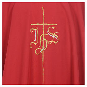 Chasuble liturgique IHS croix stylisée 4 couleurs pol. s5