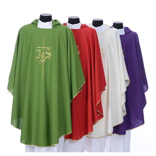 Chasuble liturgique IHS croix stylisée 4 couleurs pol. 8
