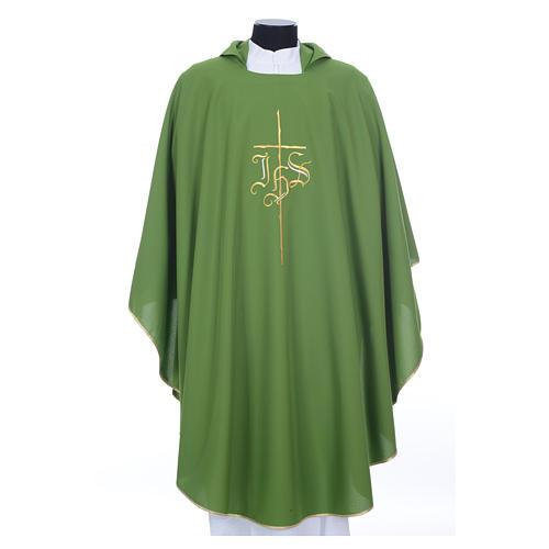 Chasuble liturgique IHS croix stylisée 4 couleurs pol. 10