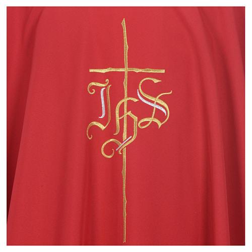 Chasuble liturgique IHS croix stylisée 4 couleurs pol. 12