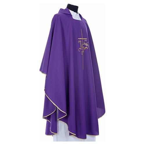Chasuble liturgique IHS croix stylisée 4 couleurs pol. 18