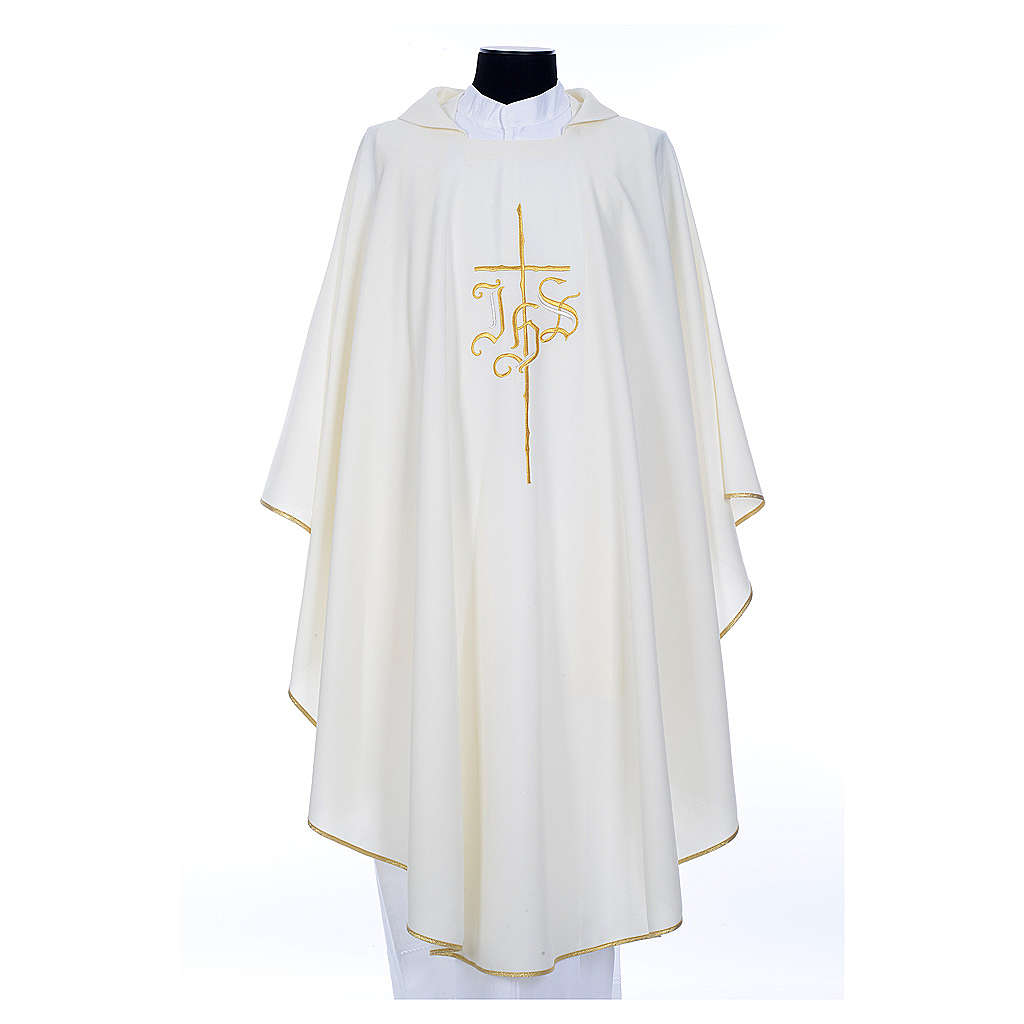 Chasuble in polyester with JHS and cross symbol 4