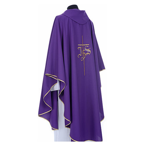 Chasuble in polyester with JHS and cross symbol 3