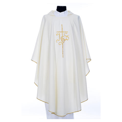 Chasuble in polyester with JHS and cross symbol 6