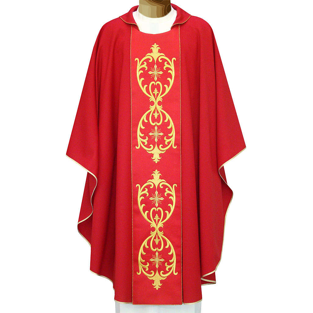Catholic Chasuble in double twisted wool yarn and lurex with embroidery 4