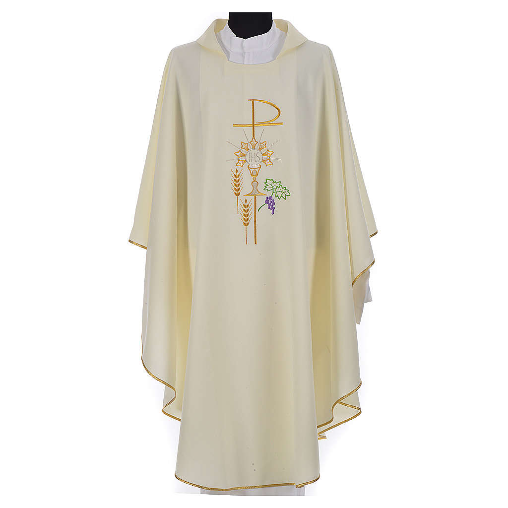 Chasuble in polyester with Chi-Rho monstrance chalice and wheat 4