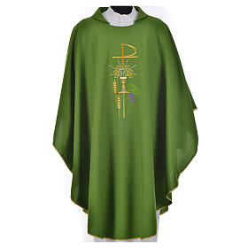 Chasuble in polyester with Chi-Rho monstrance chalice and wheat s13