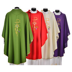 Chasuble in polyester with Chi-Rho monstrance chalice and wheat s2