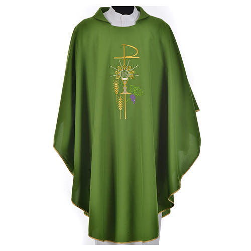 Chasuble in polyester with Chi-Rho monstrance chalice and wheat 13