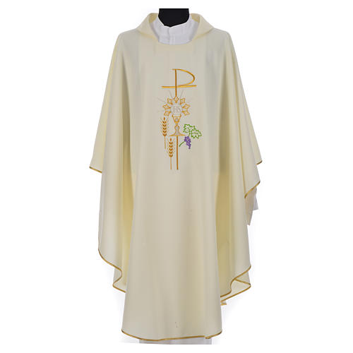 Chasuble in polyester with Chi-Rho monstrance chalice and wheat 15