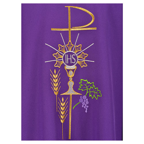 Chasuble in polyester with Chi-Rho monstrance chalice and wheat 17