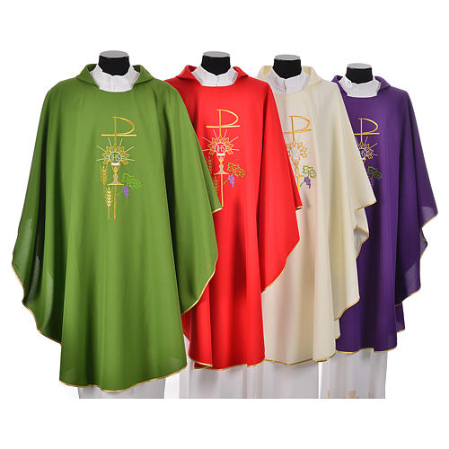 Chasuble in polyester with Chi-Rho monstrance chalice and wheat 1
