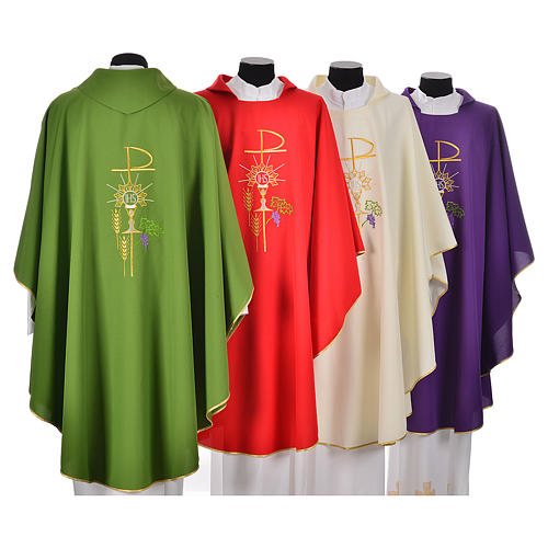 Chasuble in polyester with Chi-Rho monstrance chalice and wheat 2