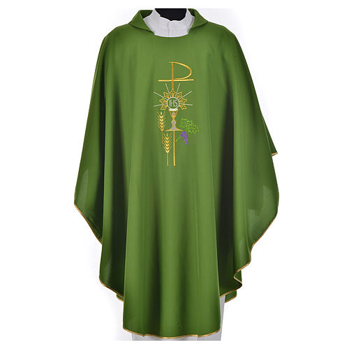 Chasuble in polyester with Chi-Rho monstrance chalice and wheat 3