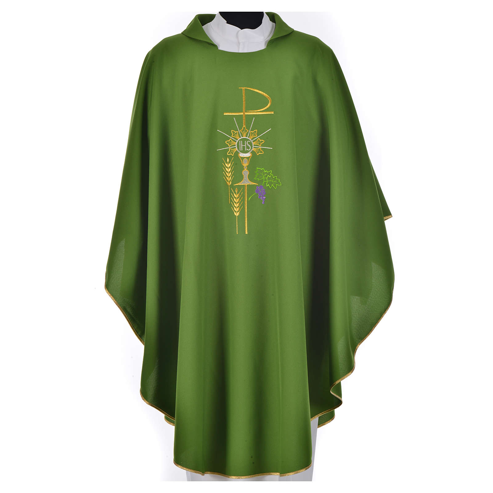 Chi-Rho Chasuble with monstrance chalice and wheat in polyester 4