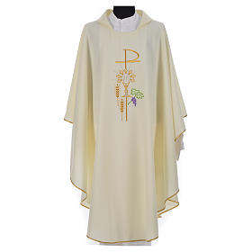 Chi-Rho Chasuble with monstrance chalice and wheat in polyester s15