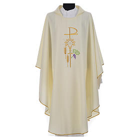 Chasuble in polyester with Chi-Rho monstrance chalice and wheat s5