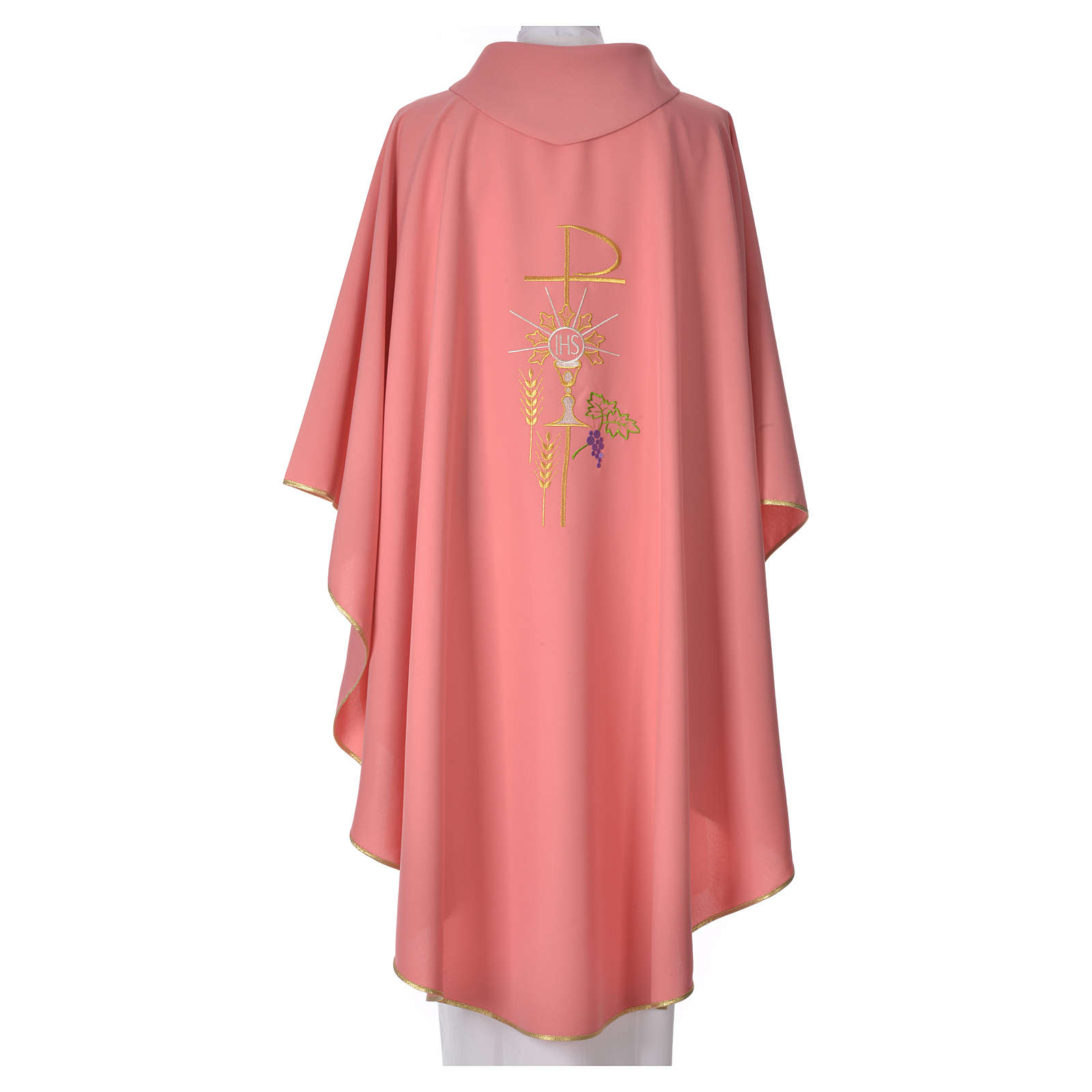 Pink Chasuble in polyester Chi-Rho monstrance chalice and wheat 4