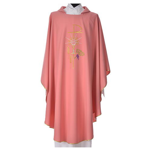 Pink Chasuble in polyester Chi-Rho monstrance chalice and wheat 1