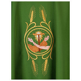 Franciscan chasuble in polyester with Jesus and St.Francis hands s16