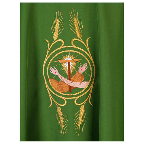 Franciscan chasuble in polyester with Jesus and St.Francis hands 16