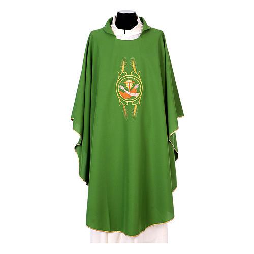 Casulla Franciscana 100% pol. manos de Francisco y Jesús 3