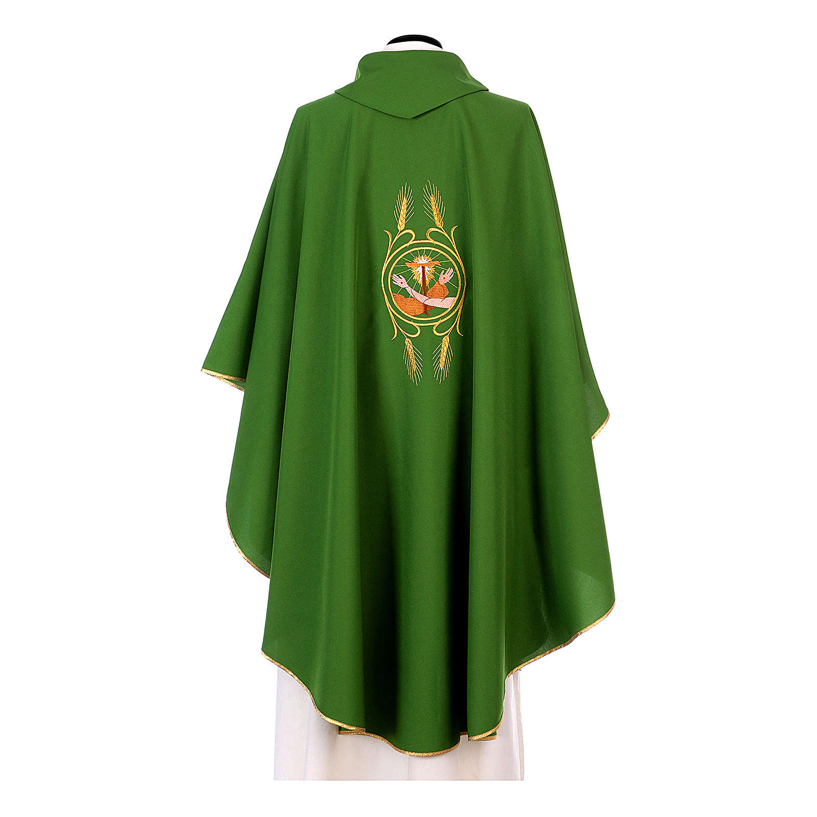 Franciscan Catholic Chasuble in polyester with Jesus and St.Francis hands 4