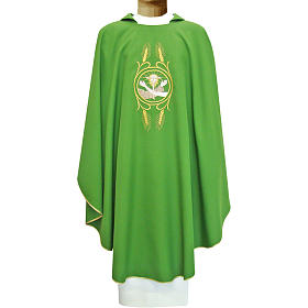 Franciscan chasuble in polyester with Jesus and St.Francis hands s1